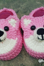 Yarn Pink Puppy Baby Shoes